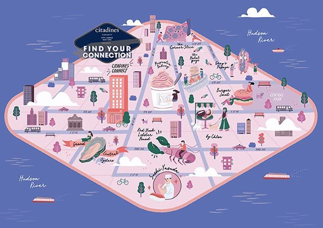 Illustration for Citadines Connect Fifth Avenue New York campaign in September. This illustrated map highlights foodie hotspots from classic New York institutions to renowned food trucks for your best fix. The illustrated elements were drawn from personal experiences while exploring New York City to uncover the best food places. 🤙🏻 Agency: Section / AD: Roy & Michelle