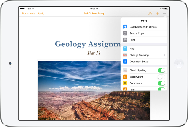 Collaboration in Pages for iPad