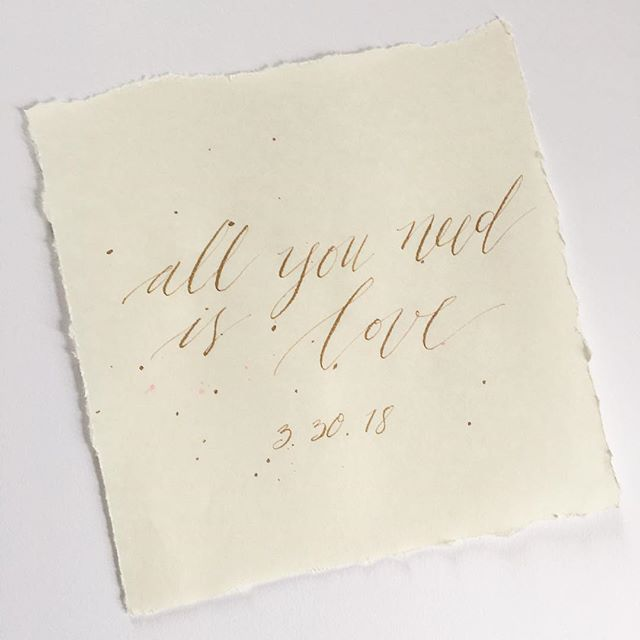 💕 all you need is love 💕 — happy wedding week to L + M! . . . #calligraphy #moderncalligraphy #allyouneedislove #wedding #centralpaweddings