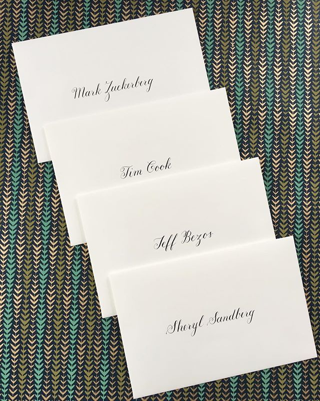 "Was this for real...? YES! A few months ago I was honored to work on invitations for an event that went out to the biggest names in tech and media. And yeah, very nerve-wracking to write out ""Mark Cuban"" and ""Jeff Bezos"" 10 times before being happy with the calligraphy. 😅📱💾💿 . . . #calligraphy #copperplate #copperplatecalligraphy #envelope"