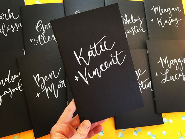 Loved writing out these cute little notebooks for @beyondthevowsmovement! 💕✨📓 . . . #calligraphy #moderncalligraphy #handlettering