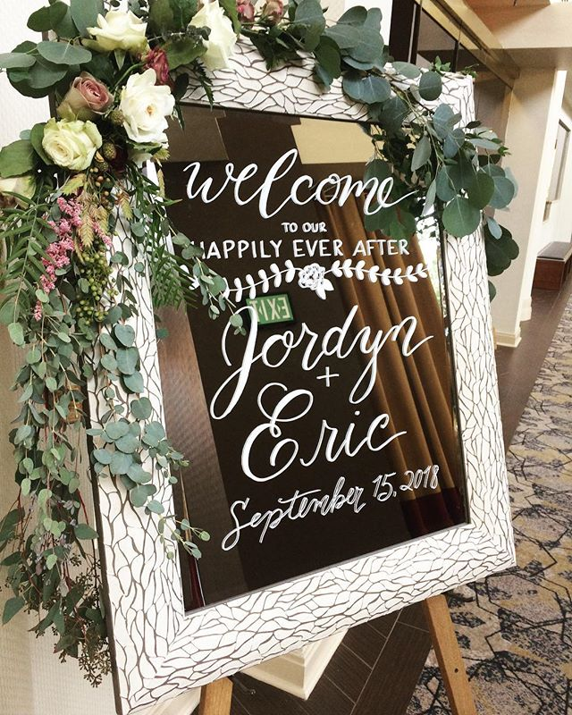 Welcome to our happily ever after ... 😍 Welcome sign for a beautiful wedding this past weekend! #calligraphy #moderncalligraphy #welcomesign #weddingsign #weddingcalligraphy