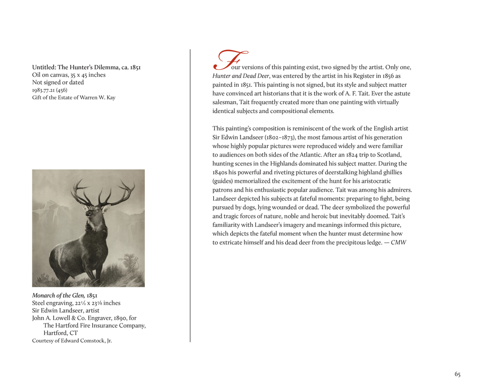 """The Adirondack World of A.F. Tait"" exhibition catalog: sample page The Adirondack Museum, Blue Mountain Lake, N.Y."