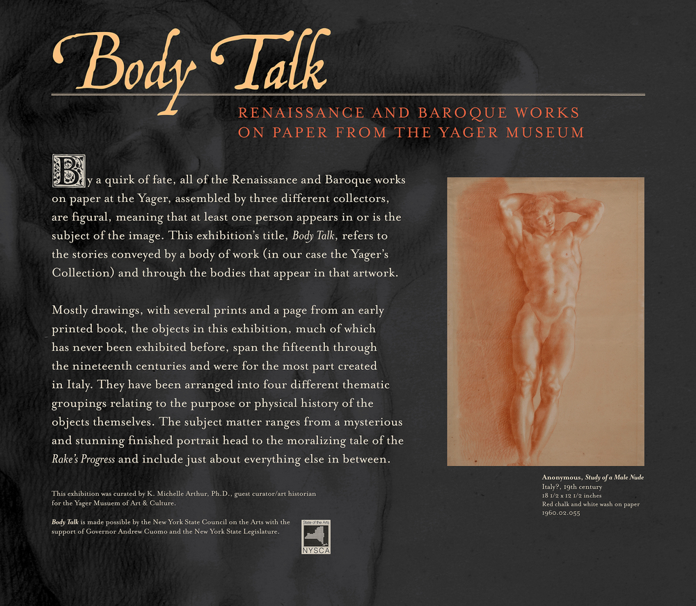 """Body Talk"" exhibition introduction panel The Yager Museum, Hartwick College, Oneonta, N.Y."