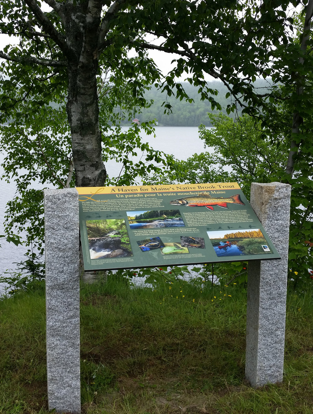 Outdoor Interpretive Panel for Maine D.O.T., installed at Parlin   Pond   Old Canada Road Scenic Byway