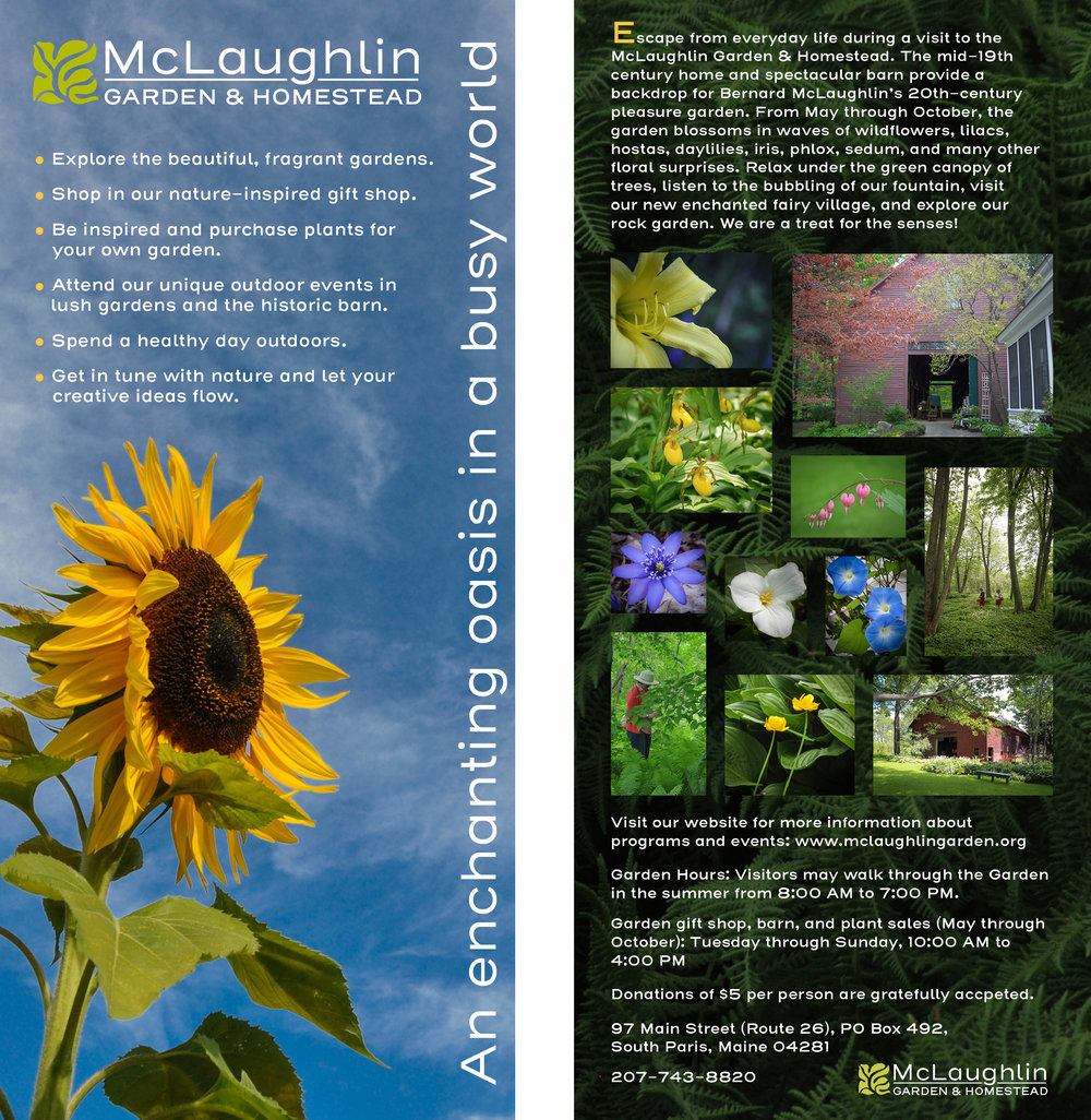 Promotional Rack Card (Front & Back) for McLaughlin Garden & Homestead   South Paris, Maine