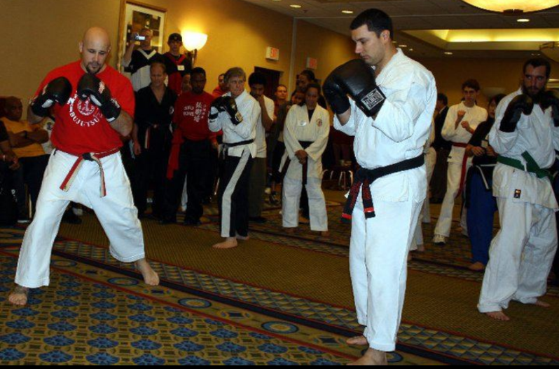 Sensei Del Ross and Mr Arauju leading a kickboxing seminar.