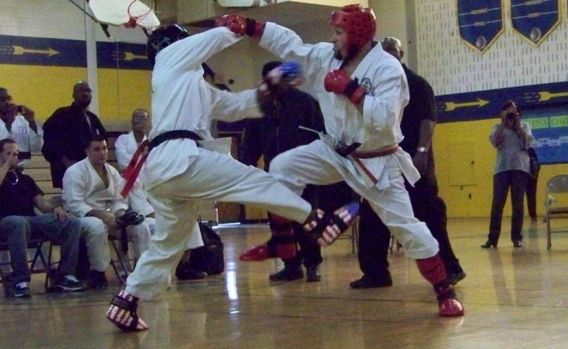 MBC students are encouraged, but not required, to compete at local tournaments.  Leading by example, the photo above is of Sensei Del Ross competing in a point sparring match.  Photo credit: Mike Dixon
