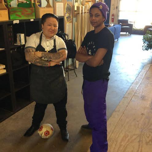 Nick (right) sporting purple for Prince, with Instructor Maila.