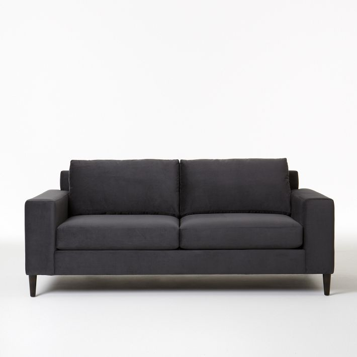 """LIVING ROOM SOFA - WEST ELM, YORK, UPHOLSTERED IN """"SHADOW"""" VELVET    I ordered the tapered legs (photo not available), not the cone legs as shown. West Elm's Heath sofa was my first choice, it's similar, but was narrower arms. I just didn't have the width in the living room to accommodate the Heath 41"""" deep sofa. I'm going to try to camouflage the wide arms as best as I can with some throw pillows. I can't wait to see how the velvet turns out when it's delivered."""