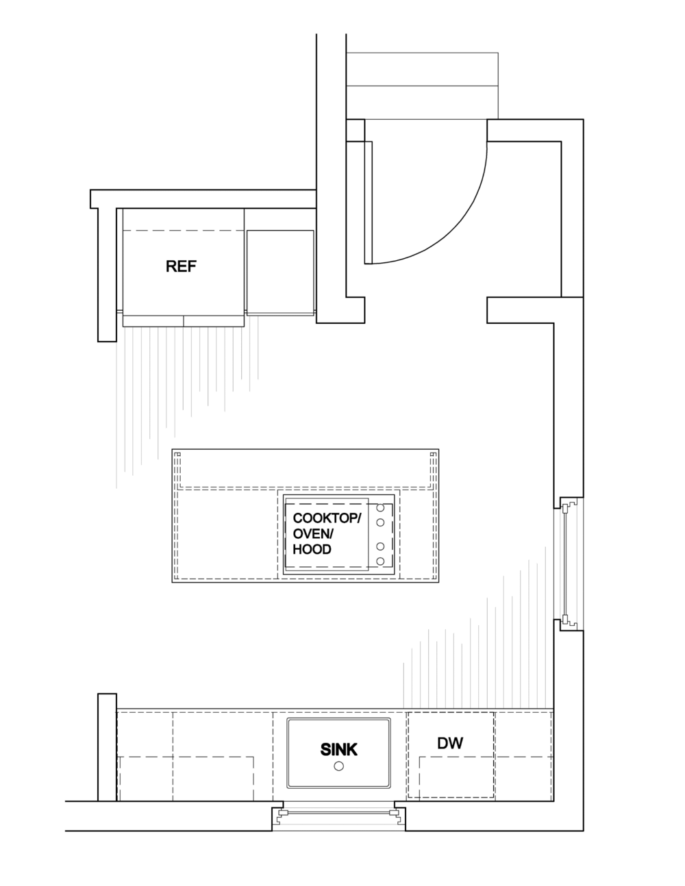 """The biggest impact to the kitchen layout is the enlarged 8 ft wide opening. The kitchen now directly connects to the adjacent dining room. The enlarged opening also mirrors the opposite wall opening that connects the dining room to the living room. A 6 ft wide center island now houses the cooking appliances. I even managed to fit in an island overhang where 3 stools will be placed. It was a tight fit and the absolute minimum aisle clearances, but I was determined to make it work. The sink, dishwasher, refrigerator and remaining cabinet locations remain virtually the same. Oak 2-1/4"""" t&g wood flooring will be installed to match the rest of the flooring in the house. I considered relocating the side window to be centered on the island, but it is already centered on the roof ridge from the exterior and I thought that to be the more important alignment."""