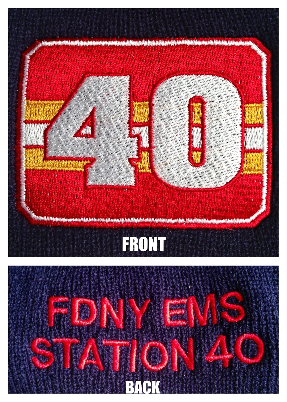 Custom Embroidered Beanies for FDNY EMS Station 40