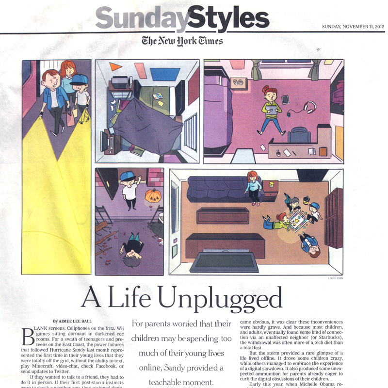 A LIFE UNPLUGGED  Client: Sunday Styles, The New York Times AD: Barbara Richer You can read the article  here