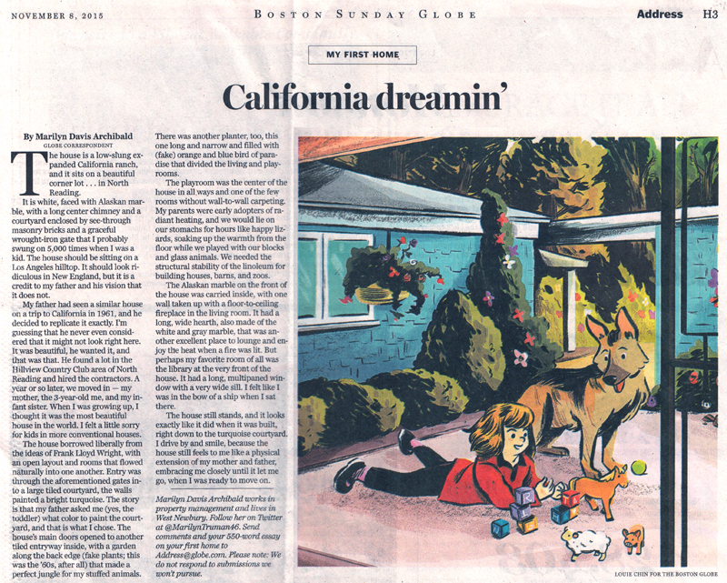 California dreamin' in North Reading   by Marilyn Davis Archibald AD: Jane Martin  Read the Article  here