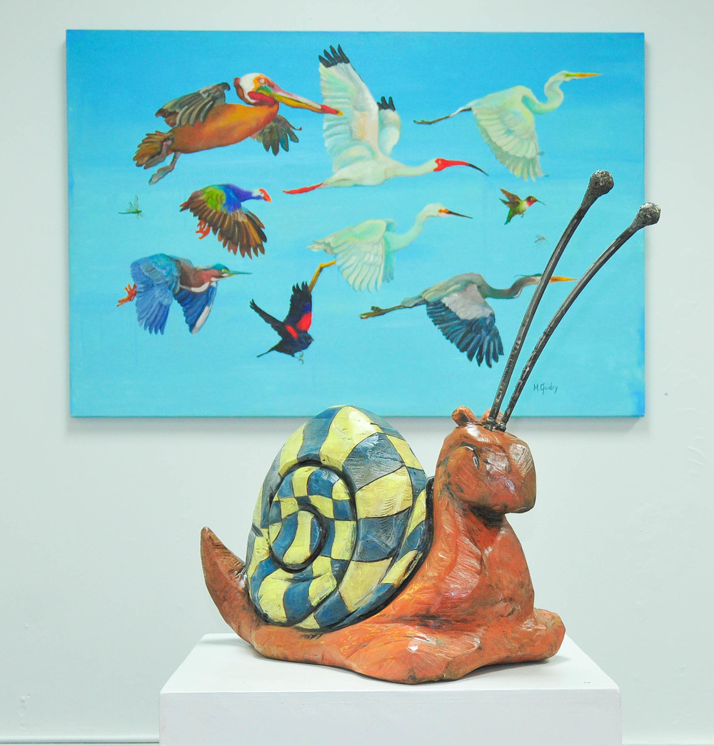 Sculptures by Kelly Guidry, paintings by Michael Guidry