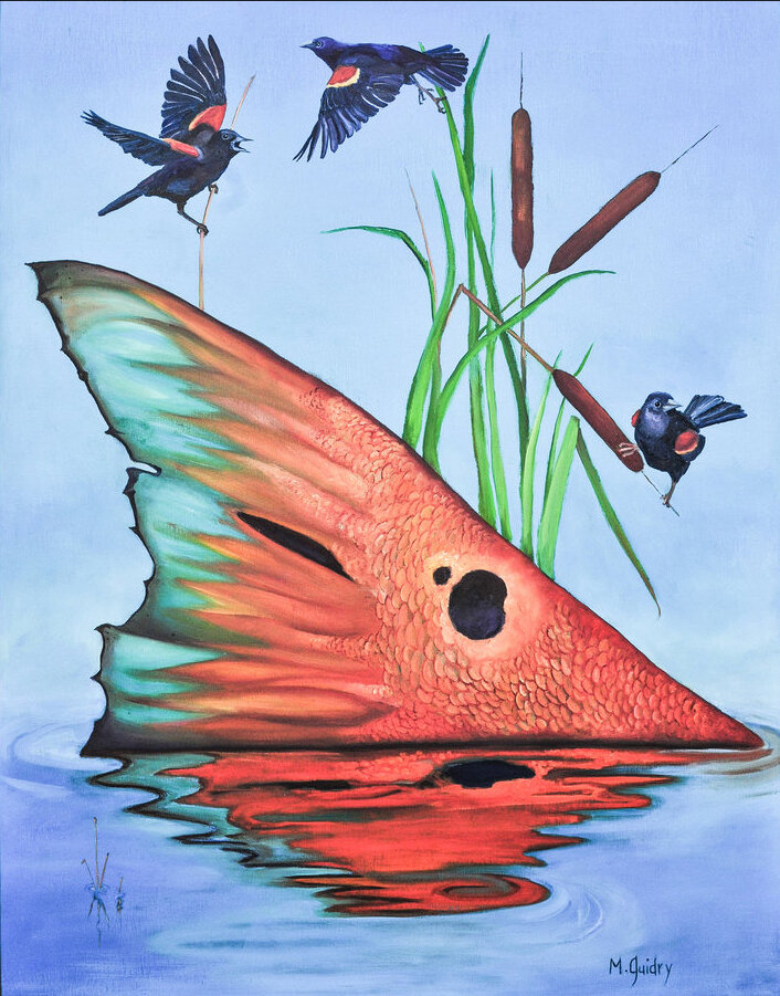 Tailing_red_redfish_red_wing_blackbirds_m._michael_mike_guidry_new_orleans_artist_oil_paintings 2.jpg