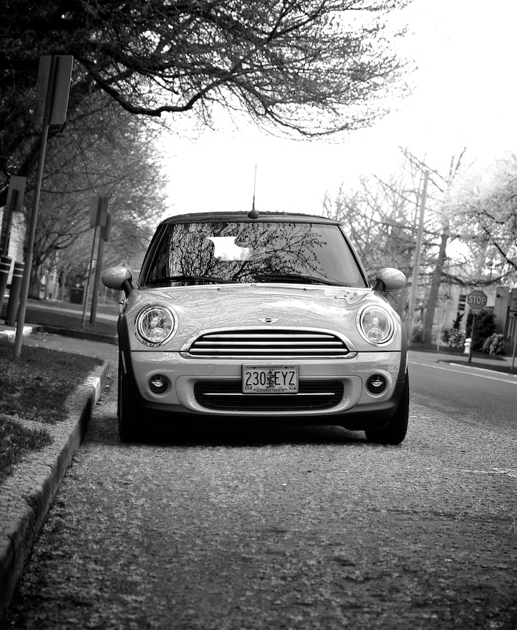 Mini Cooper under cherry tree. Fuji X-E1. 18-55mm.