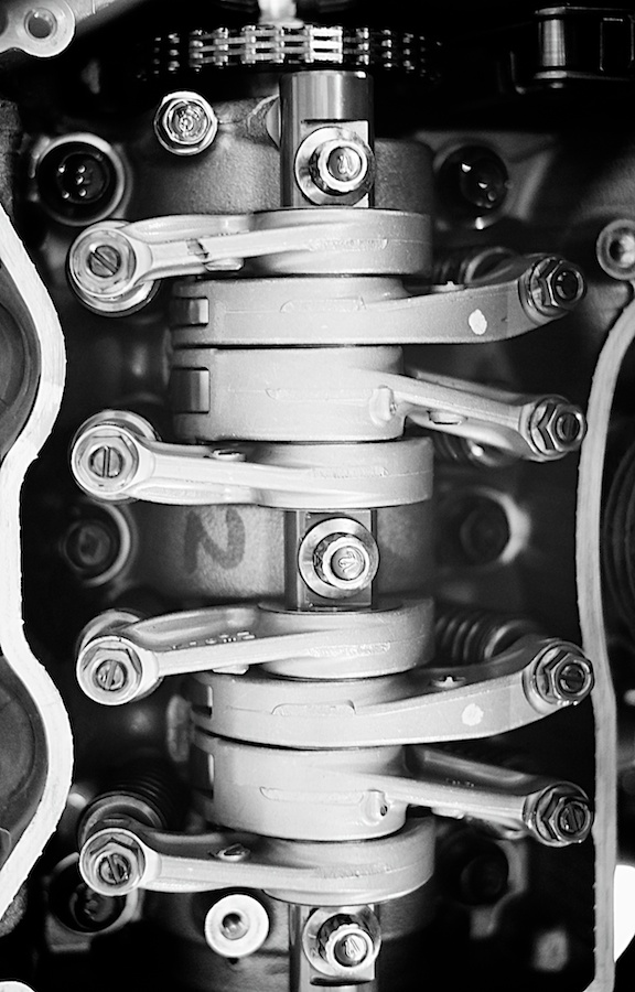 Valve timing on the Honda NC-700X. Fujifilm X-E1, XF35mm f/1.4 @ f/2, 1/125, ISO 1600