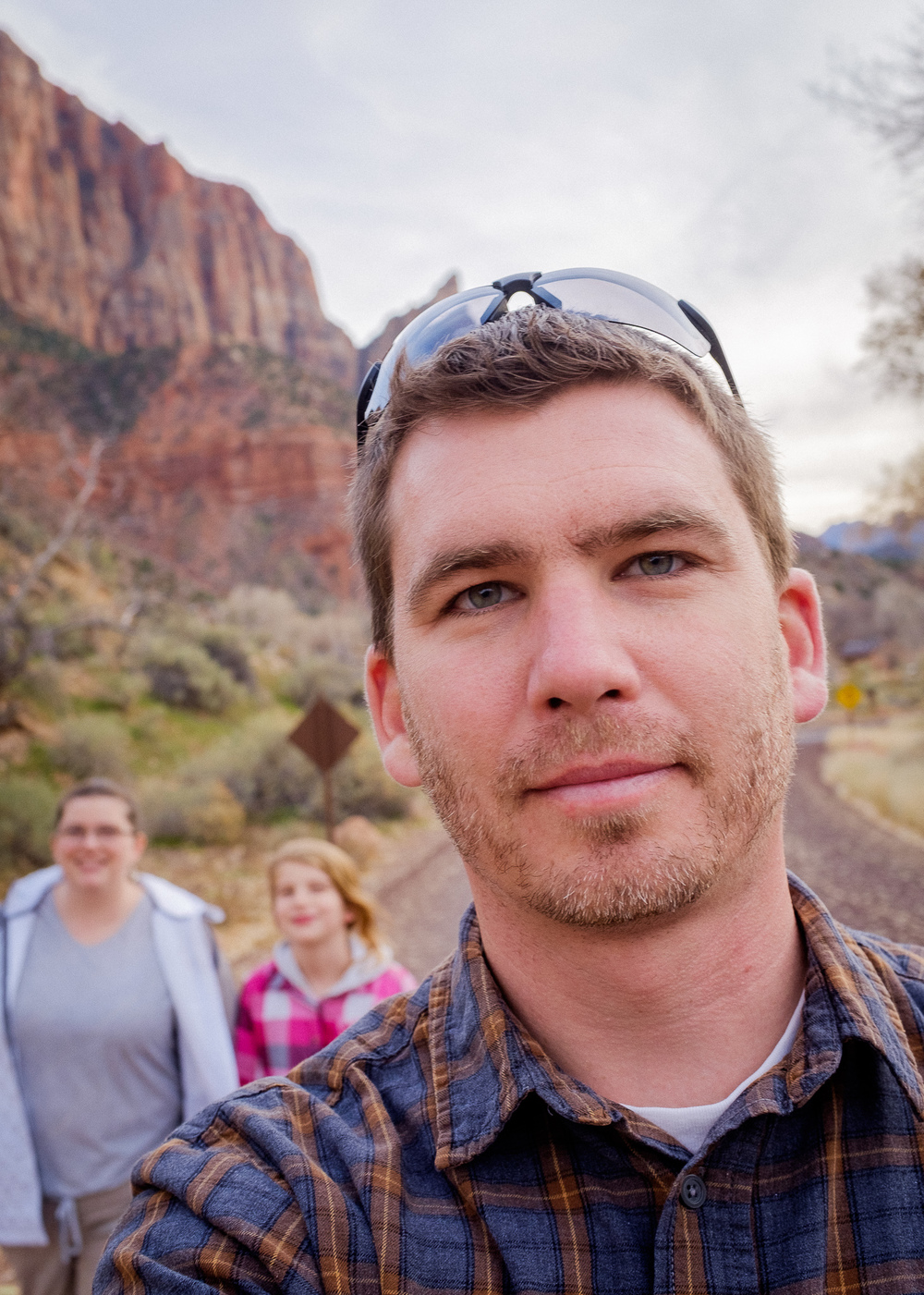 That's Me! Walking through Zion with my wife and our youngest.    [ Fujifilm X100t, f/5.6, 1/210s, ISO 200 ]