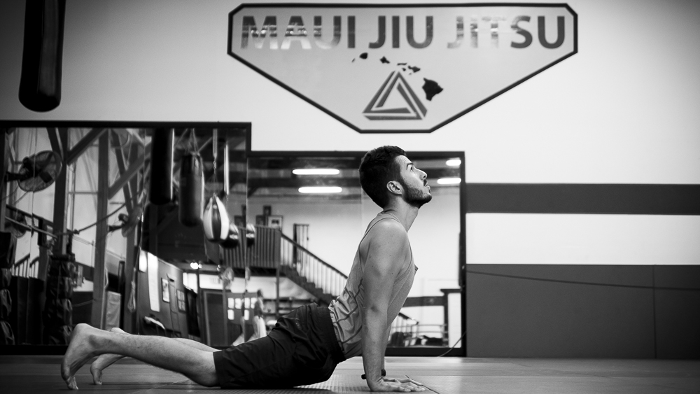 Me demonstrating the Hindu Push Up at Maui Jiu Jitsu. Photo Credit: Kristie Andreula