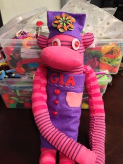pink sock puppet decorated