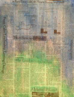 Next, I added some blue, green, and yellow watercolor paint to the newspaper after the glue dried.