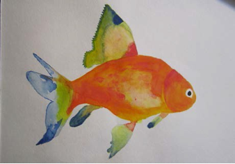 "Figure 3: Goldfish, Watercolor, 9""x12"""