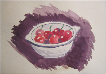 "Figure 4: Bowl of Cherries, Watercolor 9"" x 12"""