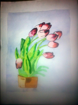 "Figure 5: Tulips, Watercolor 9"" x 12"""