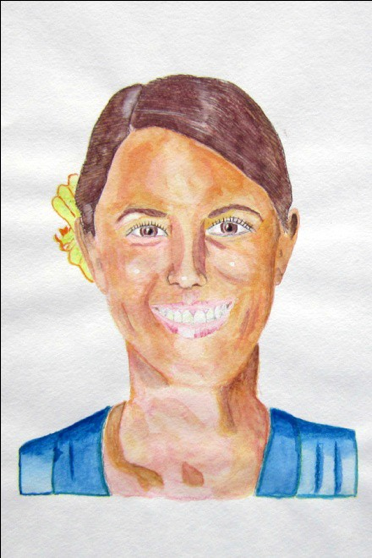"Figure 6: Nikki, Watercolor, 9""x12"""