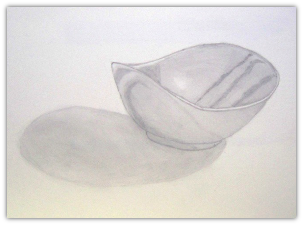 "Figure 12: Metal Bowl, Graphite, 9""x12"""