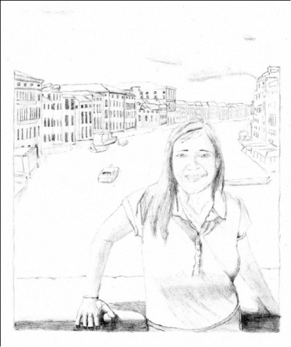 "Figure 14: Julia in Venice, layout in Graphite on Watercolor Paper, 8"" x 10"""