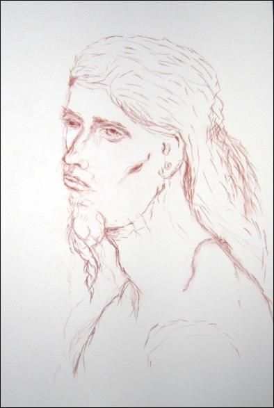 "Figure 24: Sepia Man, Sepia Crayon 19""x12"""