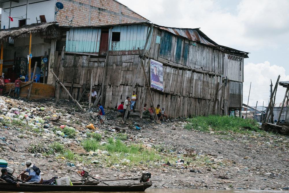 Belén (Visible, la marque du niveau de l'eau à la saison des pluies)  - Iquitos, Pérou.