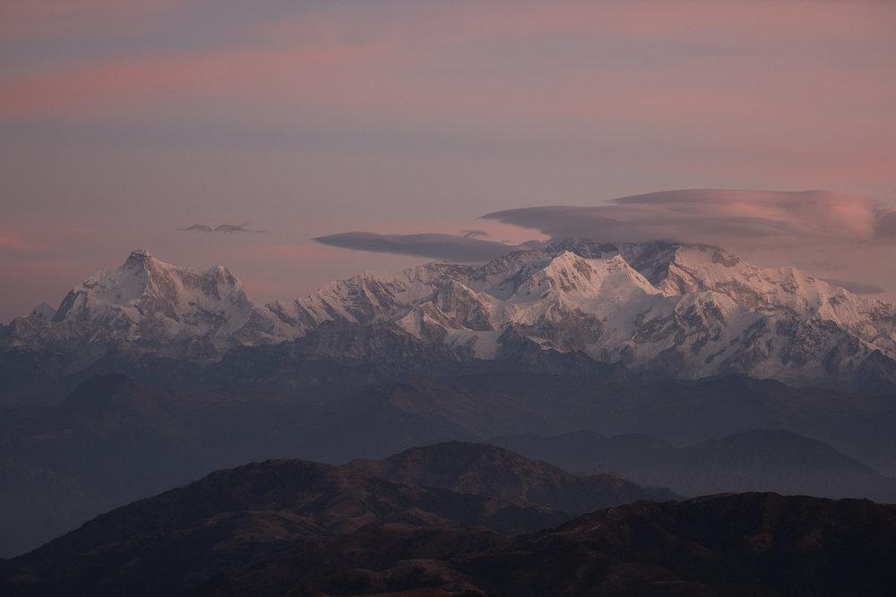 Kangchenjunga (troisième plus haut sommet au monde), Shankaphu treck  - Darjeeling, India.