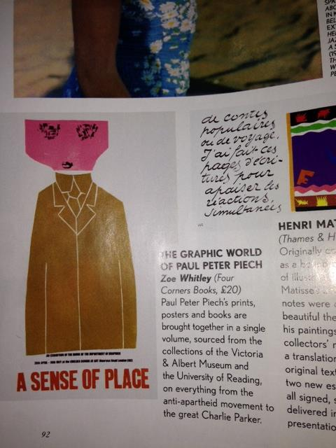 "British Vogue's November 2013 edition has selected The Graphic World of Paul Peter Piech among the ""best new books."" Here's a snap of it featured on page 92."