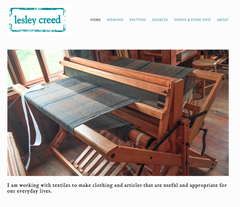Screenshot of website that I designed for a master weaver and fiber artist in Bolinas, California