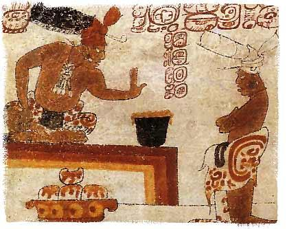 A Mayan chief forbids a person to touch a jar of chocolate, (more than a thousand years old, via wikimedia)