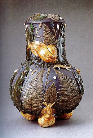 Zsolnay Manufactory, Base for Palissy Kerosene Lamp, 1880