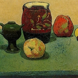 Émile Bernard,  Earthenware Pot and Apples , 1887