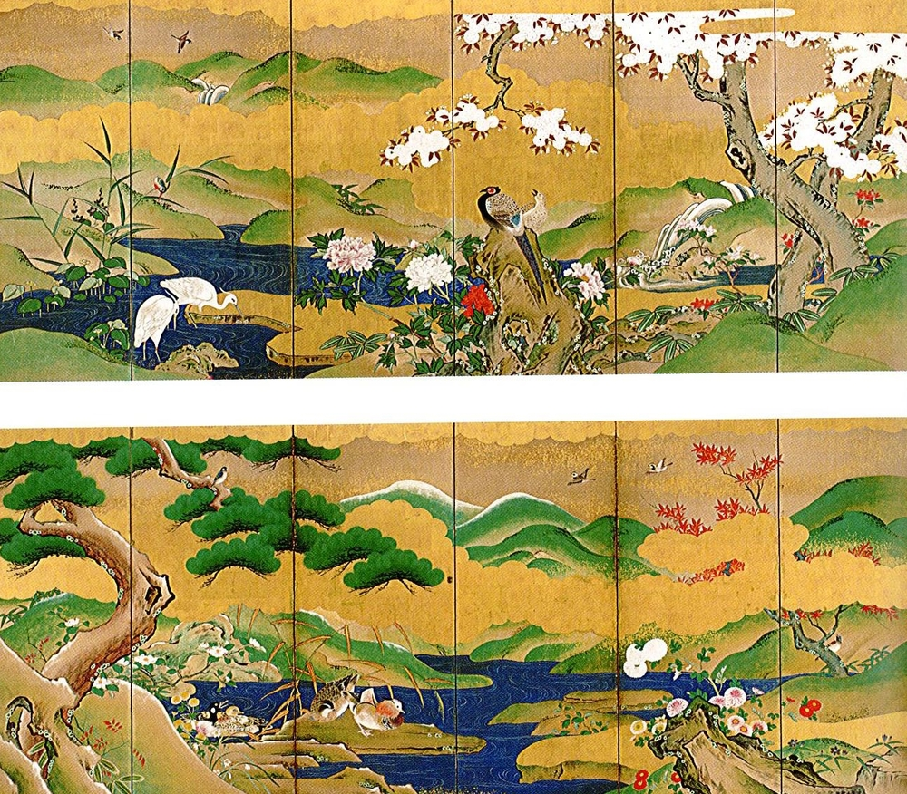 Anonymous 19th Century Japanese Scroll of Birds and Flowers of the Four Seasons
