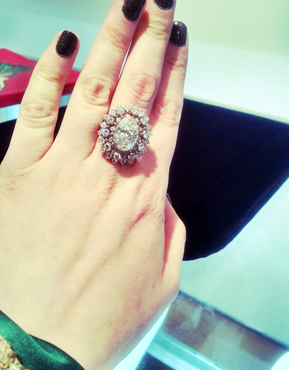 Vintage Diamond Ring tried on at a Christie's jewelry preview