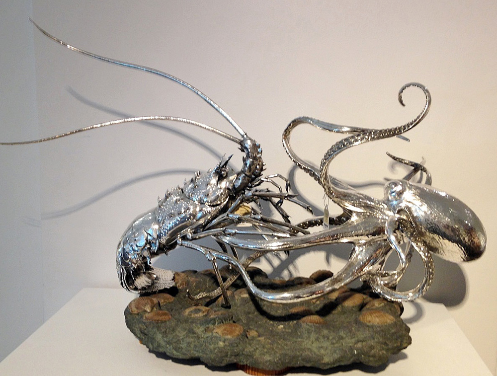 Italian Silver Lobster and Octopus Centerpiece, Gianmaria Buccellati, Milan 20th C