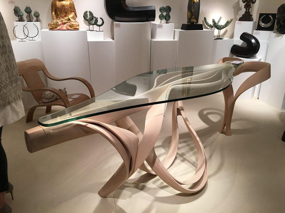 Eniguum Consul Table (Olive, Ash & glass) by Joseph Walsh (born 1979) - £48,000 + vat – on Stand C6 – Peter Petrou, exhibiting at PAD for the first time