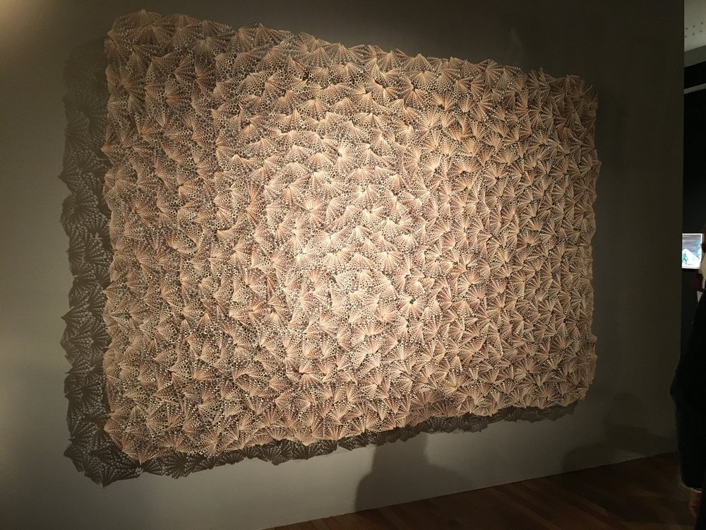 """Dreamcatcher"" by Rowan Mersh (3metres x 2 metres) - £72,000 inc VAT on the stand of A24 Gallery Fumi (Sardinia, Italy).  Made from  'farmed' Turritella shells from the Phillippines"