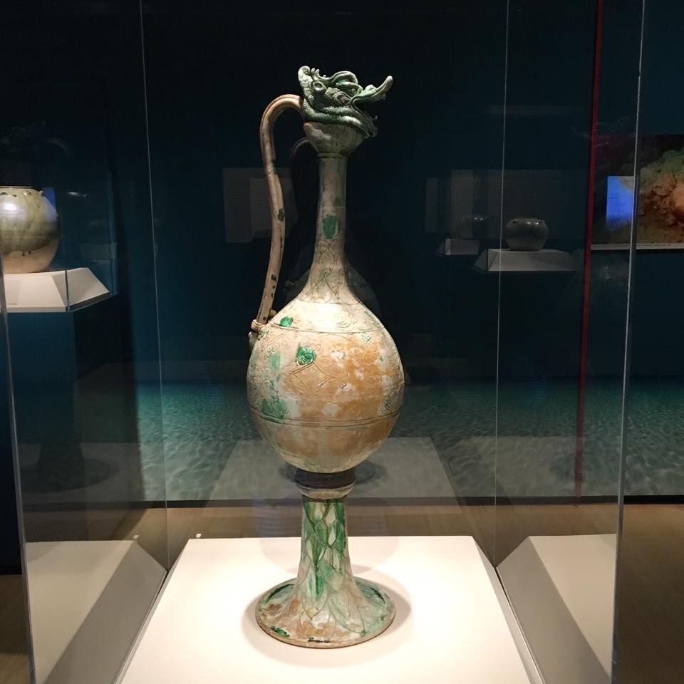 Long-necked ewer. China, probably Henan Province. Gongxian kilns. Tang dynasty, ca. 825-50. Glazed stoneware with copper-green splashes over white slip.