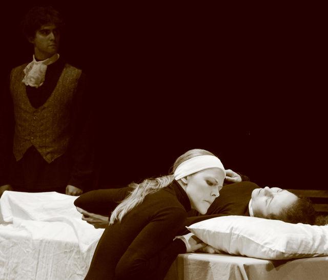 Stewart Kramer, Jennifer Moore and Leanne Gonzalez-Singer in Dell'Arte's Opera Ensemble's production of Poulenc's Dialogues des Carmélites.   The Goods, on a shoestring.