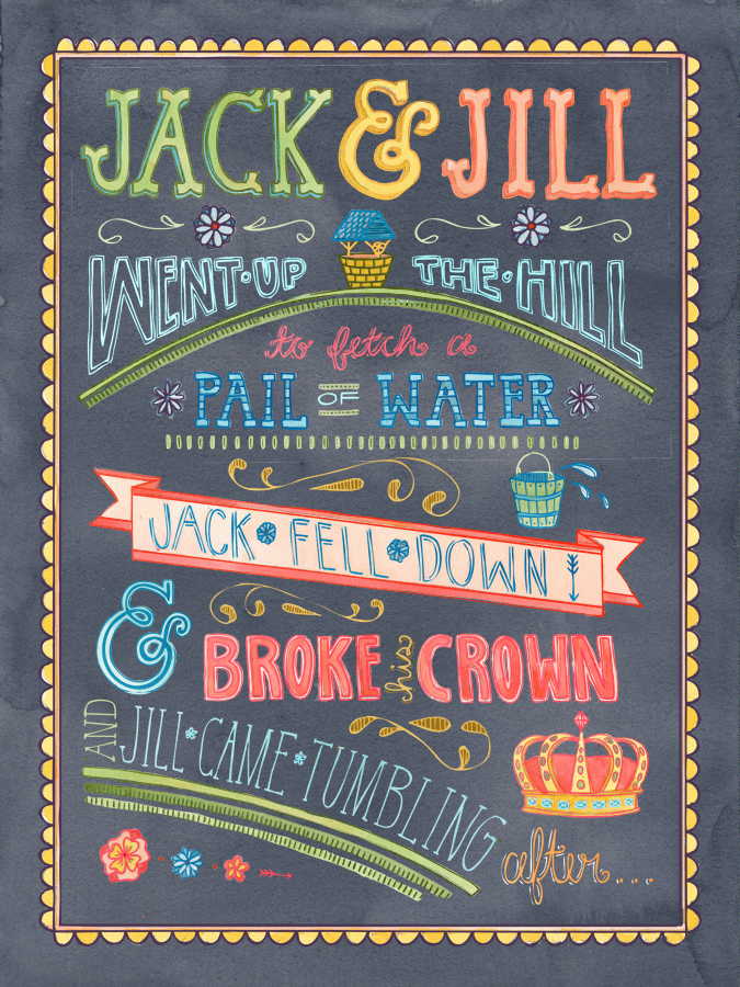 Becca Cahan Jack and Jill Nursery Rhyme Print