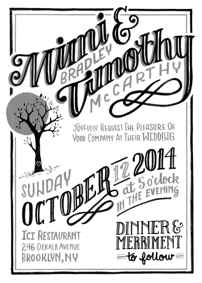 Mimi & Timothy wedding invite original illustration by becca cahan