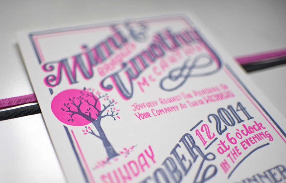 Mimi & Timothy letterpress wedding invite by becca cahan//robinson press
